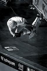 Catching Air in the Bowl (Simon Pratley) Tags: street city urban bw monochrome canon person blackwhite cool outdoor candid air sydney australia skate skateboard halfpipe skater northernbeaches