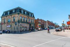 Bottom End of Queen Street (fotofrysk) Tags: blue sky ontario canada town sidewalk pedestrians waterstreet queenstreet durhamregion portperry smalltownontario sundayvisitors nikond7100 historibuilding 201604174083