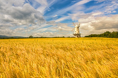 Usk Valley Windmill, Llancayo (technodean2000) Tags: uk sky food plant windmill field grass wales landscape sand nikon outdoor dune newport valley monmouth serene hay plain usk lightroom monmouthshire d610 llancayo