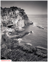 Manarola, Italy (DelioTO) Tags: italy rural landscape march blackwhite spring liguria trix trails beaches 4x5 toned schneider lensed 210mm natparks microdolxautaut