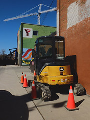 John Deere at the Y (geowelch) Tags: toronto downtown shadows constructionsite heavymachinery urbanfragments fujifilmx10