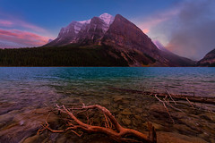Fifty shades of pink (Godspeed70) Tags: pink sunset sky lake canada mountains water colors clouds landscape dusk alpine alberta rockymountains bluehour lakelouise