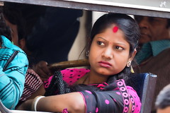 Kolkata - Female passenger (sharko333) Tags: voyage street travel portrait people woman india bus asia asien transport olympus asie kolkata indien reise em1 kalkutta  westbengalen
