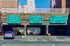 Decisions, Decisions (Bob90901) Tags: road street new york newyorkcity signs canon spring downtown outdoor manhattan uptown april 6d queensmidtowntunnel hss 2016 crosstown canonef2470mmf28liiusm sliderssunday rpg90901