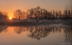 Sunrise over Barcombe Mills (Sue MacCallum-Stewart) Tags: trees orange nature water sunrise reflections river landscape sussex barcombemills