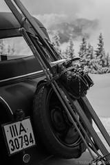 Happy Skiing! - Ski Heil! (WaleriBykowski) Tags: auto bw white snow black ski car museum union autobahn gas zwickau sw petrol schwarz horch weis benzin