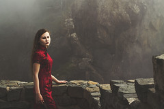 Waiting for what will never come. (Alyssa Mort) Tags: red portrait cliff woman girl fog wall rocks fineart surreal conceptual alyssamort