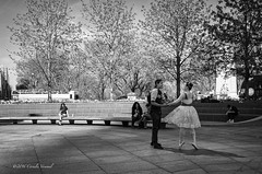 A Happy Encounter (CVerwaal) Tags: nyc blackandwhite streetphotography columbuscircle ricohgr cellphones