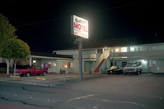 (patrickjoust) Tags: auto california ca usa color 120 film car sign night analog america truck dark us focus automobile long exposure mechanical budget united parking release tripod north lot patrick motel pickup rangefinder cable negative vehicle after 6x9 medium format parked states manual northern joust 90mm humboldtcounty eureka estados f35 c41 unidos kodakportra160 autaut patrickjoust fujicagw690