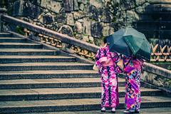Hiding From The Rain (Bebek Loncat a.k.a. Jumping Duck) Tags: rain japan kyoto staircase kimono kiyomizudera