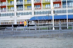 VAB Oceanfront with Seahorse (missranger) Tags: ocean christmas leica sea color film beach yellow lights virginia sand seahorse kodak atlantic balconies plus oceanfront