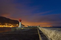 Warning light (Dreamcatcher photos) Tags: lighthouse mountain lights harbour seawall soe nightfall kalkbay capetownsouthafrica dreamcatcherphotos