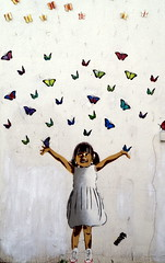 Butterfly girl. (pstone646) Tags: art wall painting kent mural picture streetphotography butterflies whitstable
