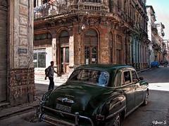 ... (Jean S..) Tags: street door windows people green car buildings shadows cuba sidewalk