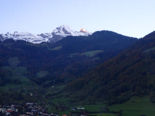 Dawn breaks on Swiss Alps on the way to Lugano