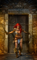 Red Sonja and the Barbarian King, feat. Tabitha Lyons: you shall not pass! (1) (SpirosK photography) Tags: portrait fight war cosplay athens greece sword marvel swordfight marvelcomics conan marveluniverse redsonja costumeplay jimkeith ελλάδα kaisariani αθήνα barbaran καισαριανή artyfakes tabithalyons spiroskphotography mihailiancu