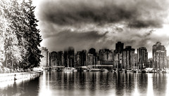 Coal Harbor Fog (beelzebub2011) Tags: bw canada monochrome vancouver britishcolumbia stanleypark hdr coalharbor highdynamicresolution