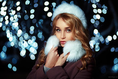 Olya (Vendigo) Tags: christmas new blue winter portrait people white black cold sexy girl beauty night fur outdoors lights eyes bokeh year young garland strobism