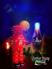 02468815-72-Coca Cola Forever Young-22 (Jim There's things half in shadow and in light) Tags: red color art tin robot space dream coke popart cocacola windup cokebottles