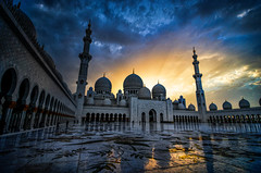 Abu Dhabi Sunset - Explored! (Greg - AdventuresofaGoodMan.com) Tags: blue sunset white postprocessed reflection tourism tour muslim faith prayer religion praying uae columns landmark mosque abudhabi hour dome sunburst marble unitedarabemirates minarette minarete muslum sheikhzayedmosque