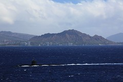 On the surface, passing Diamond Head (i_divo) Tags: ocean seascape canon landscape hawaii ship oahu outdoor submarine pacificocean diamondhead honolulu usnavy warship ssn 2015 sbx losangelesclass 5dmkiii photosbymch