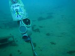 Gasmask at the sea bottom (CZDiver) Tags: underwater scubadiving gasmask drysuit scubagear drysuitdiving