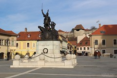Eger, Dob square, Hungary (GaborCseh) Tags: tower castle church statue stone wall memorial hungary flag eger wave battle bastion stronghold fortress siege burg 1552 dobo fightforfreedom