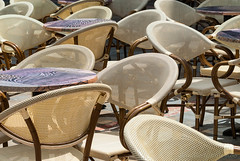 Limoux (France): chairs and tables (clodio61) Tags: france color bar table photography beige chair europe day open outdoor curves sunny nobody same similar shape aude circular equal languedocroussillon limoux