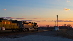 WP Airport Sunset (tim_1522) Tags: railroad sunset heritage illinois pacific sub union grain rail il chester western 1983 goldenhour subdivision emd railfanning sd70m sd70ace
