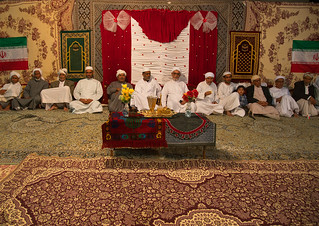 iranian men during a wedding ceremony, Qeshm Island, Tabl , Iran