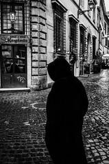 Black (Zanna Scuderi) Tags: street portrait people urban bw italy rome roma 35mm blackwhite fuji candid streetphotography trastevere urbanexploration bianconero urbex fotografiadistrada rionetrastevere fujix100