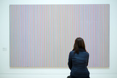 Bridget Riley art at the Tate Britain (Scotty H..) Tags: uk england woman london art english lines wall female painting person one artwork gallery interior single hanging british parallel viewing tatebritain viewed bridgetriley
