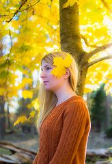 Portrait of Alice (Naetrogen) Tags: travel flowers autumn portrait people tree fall nature girl beautiful face sunshine fashion forest photography leaf model nikon sweden fineart squareformat outdoorportrait