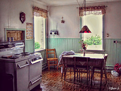 Old-fashioned (Jean S..) Tags: windows light summer house home kitchen table day chairs stove gaspsie