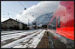 Railjet (Rob McC) Tags: winter mountain snow reflection station train austria carriage transport rail bahnhof railstation railjet