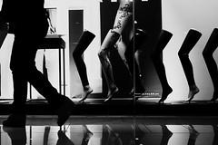 32/365 (Nico Francisco) Tags: street blackandwhite woman feet mannequin window mall walking legs display stocking