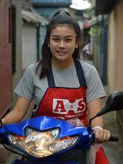 pretty woman on a motorcycle (the foreign photographer - ) Tags: woman portraits thailand nikon pretty bangkok apron motorcycle khlong bangkhen thanon d3200 jan162016nikon
