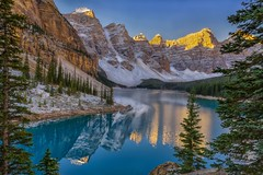 Memorable Moraine (Philip Kuntz) Tags: canada sunrise reflections dawn alberta banff daybreak morainelake valleyofthetenpeaks lakemoraine singleexposure notanhdr sunkissedpeaks firstlightonthepeaks