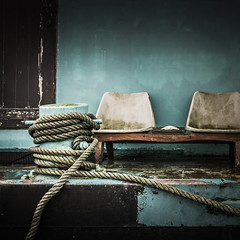 Day Three.  Loosen the Ropes... Take a Seat. (Sylvie.) Tags: door old blue zeiss vintage boat seat ropes carlzeiss sel24f18z sonyilce6000 carlzeisssonnart1824emountlens sylviepeeters