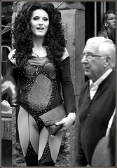 Liverpool Queen (* RICHARD M) Tags: street gay costumes liverpool portraits fun drag mono blackwhite erotic candid smiles queen portraiture exhibitionist exhibitionism transvestite glam wigs suspenders dragqueen sequins omg scousers basque leggy ott saucy risque raunchy merseyside provocative streetportraits salacious eroticism racy capitalofculture incongruence streetportraiture incongruent candidportraits europeancapitalofculture liverpudlians candidportraiture suitsyousir alternativelifestyles liverpoolpride liverpoolgaypride liverpoolsgayvillage liverpoolsgayquarter seethroughbasque