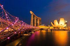 Marina bay sands and Helix Bridge (Krunja) Tags: park city travel bridge blue light sea sky urban color building tourism water beautiful skyline architecture modern night skyscraper marina wonderful river landscape asian hotel bay amazing singapore asia cityscape cross riverside famous sightseeing culture landmark scene tourist casino structure business tropical dna destination helix oriental sands attraction