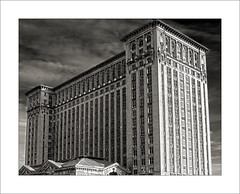 Michigan Central Station (DJ Wolfman) Tags: blackandwhite bw architecture buildings michigan detroit olympus michiganfavorites detroitmichigan michigancentralstation historicalarchitecture detroitmi detroitarchitecture michigancentraltrainstation micro43 olympusomd 25mmf18olympus