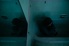 Untitled (5/15) (Erik D Robinson) Tags: light woman house abandoned broken girl beauty fashion contrast bathroom happy mirror model sad makeup story 70s bathtub conceptual narrative styling redemption emilymcney