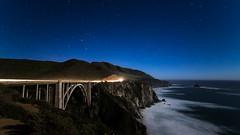 Bixby Bridge under moonlight (Bryson Patterson) Tags: ocean california longexposure bridge stars waterfall bigsur astrophotography moonlight bixbybridge milkyway starscape