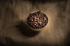 dark roast - 111/365 (auntneecey) Tags: brown cup coffee dark moody burlap coffeebeans darkroast day111366 366the2016edition 3662016 20apr16