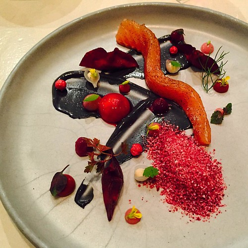 Amazing trout sashimi with pomegranate frozen snow by chef @chef_meir_adoni #theartofplating #chefsofinstagram #gastroart #chefstalk #chefsroll