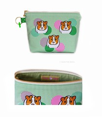 Orange Apollo's Flat Bottom Zipper Pouch for Guinea Pig Cavy Lovers (Seattle Roll) Tags: orange guineapig cavy pouch etsy spoonflower orangeapolloetsycom