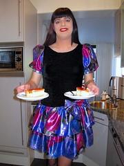 Serving (Paula Satijn) Tags: blue girl cake shiny dress silk skirt tgirl transvestite pastry satin miniskirt tompouce gulr