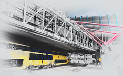 Platform 7 (Jorden Esser) Tags: lines train crossing platform railwaystation flyover hss selectivecolours nederlandvandaag amsterdamsloterdijk sliderssunday