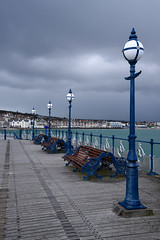 Swanage Pier (sarah_presh) Tags: sea storm clouds coast pier seaside spring seats dorset april coastline lamps benches swanage lampposts nikond750